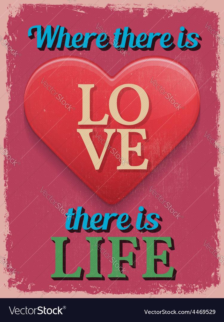 Valentines day poster retro vintage design where vector | Price: 1 Credit (USD $1)