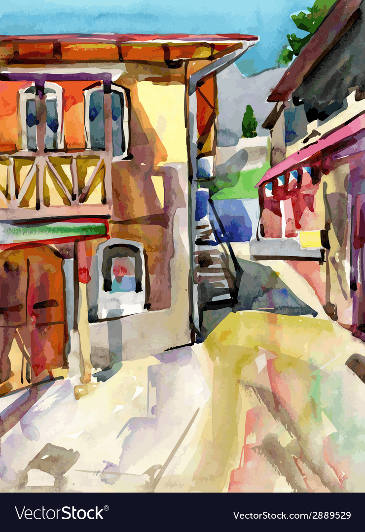 Watercolor painting on paper of old street in vector | Price: 1 Credit (USD $1)