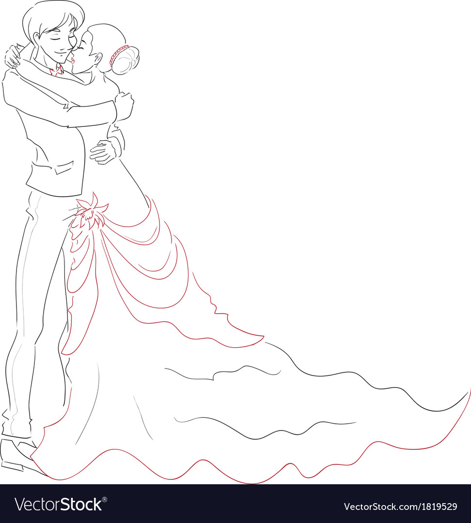 Wedding embracing couple vector | Price: 1 Credit (USD $1)