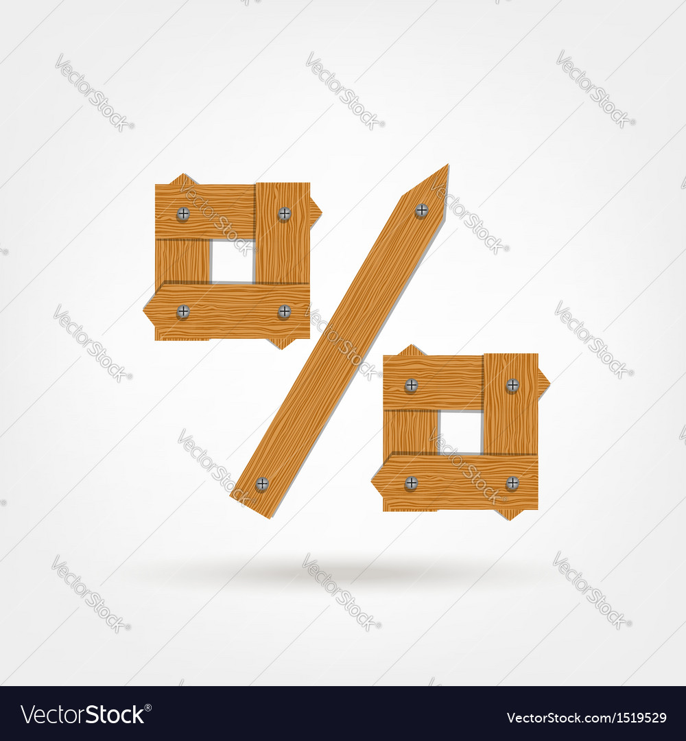 Wooden boards percentage sign vector | Price: 1 Credit (USD $1)