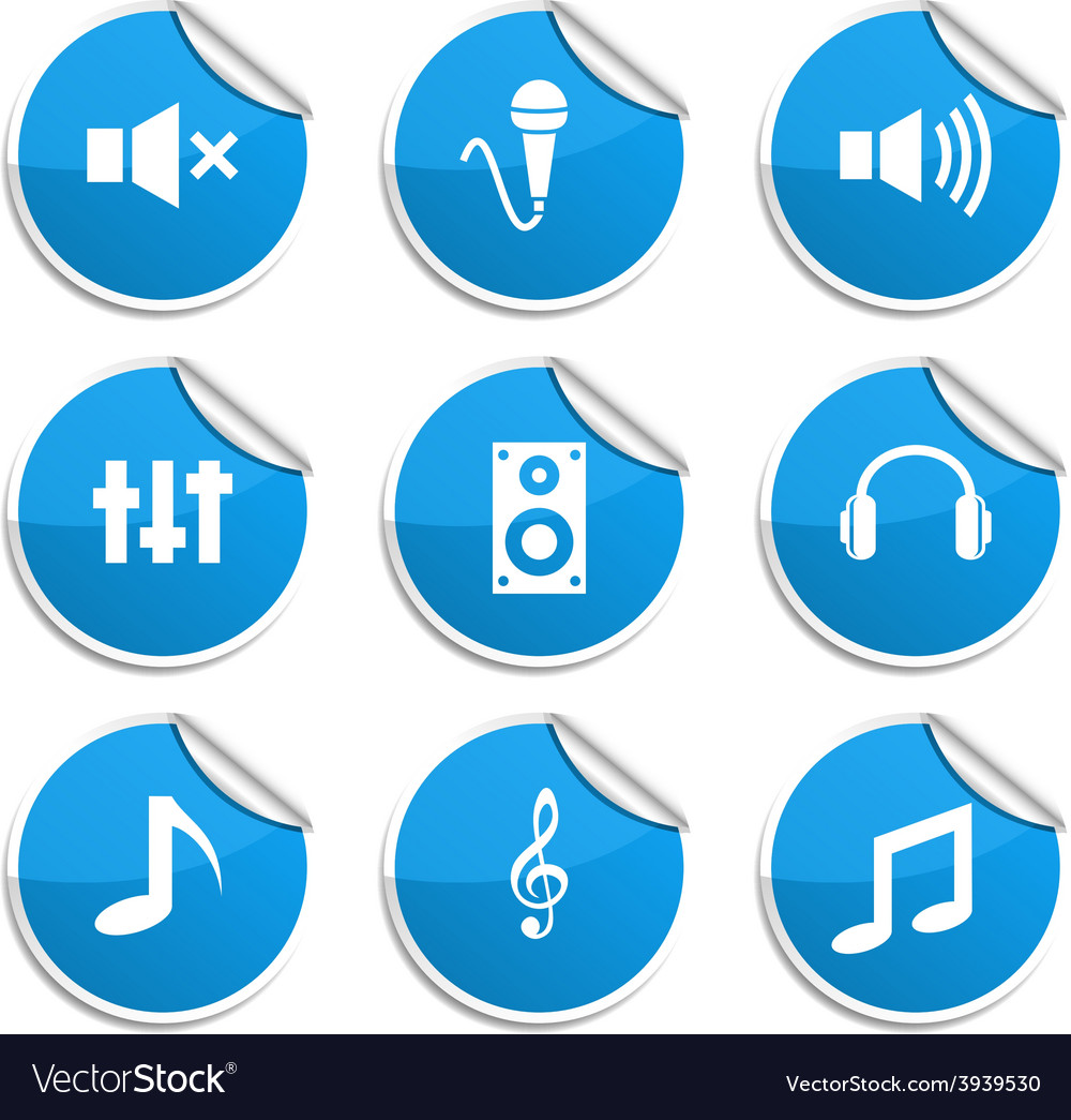 Audio stickers vector | Price: 1 Credit (USD $1)