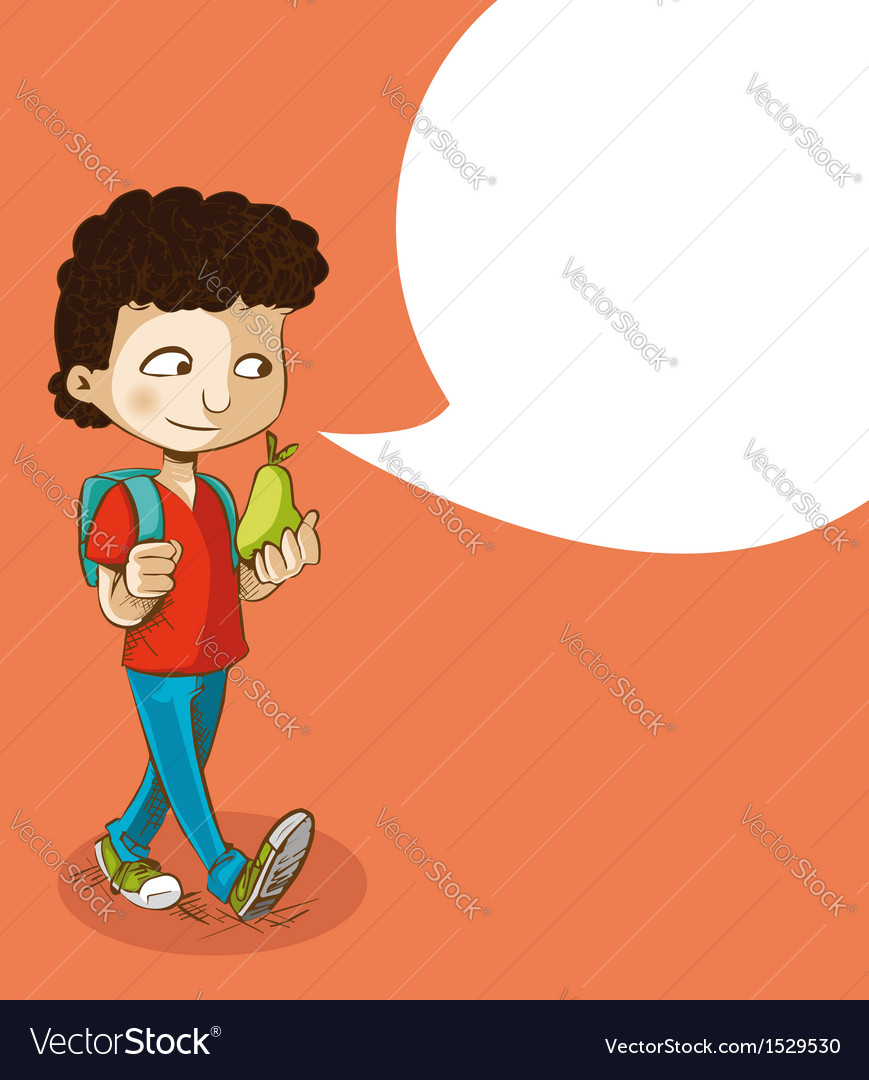 Back to school education boy with social bubble vector | Price: 1 Credit (USD $1)