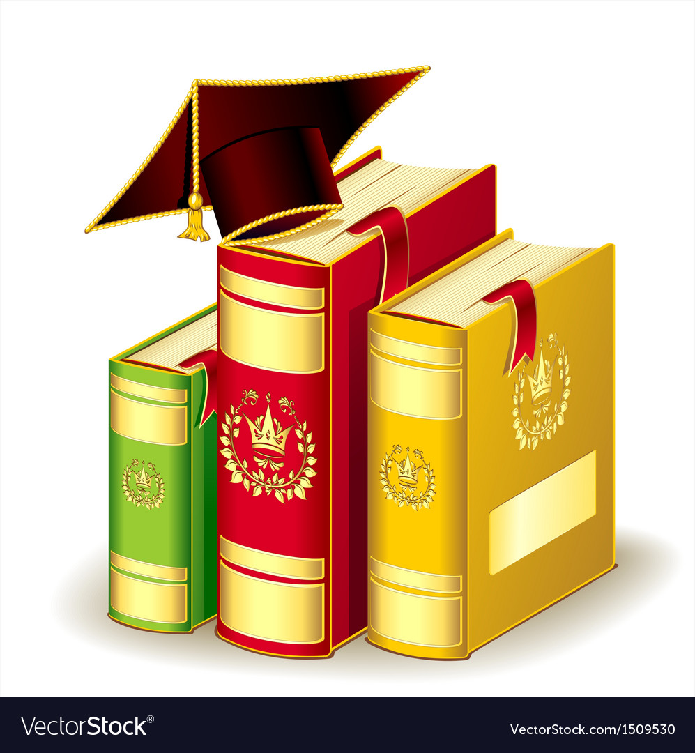 Books with graduation cap vector | Price: 3 Credit (USD $3)