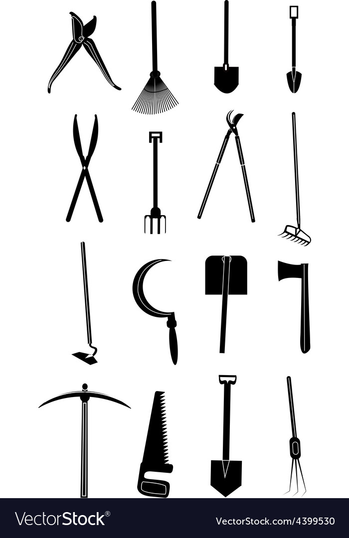 Gardening tools icons set vector | Price: 1 Credit (USD $1)
