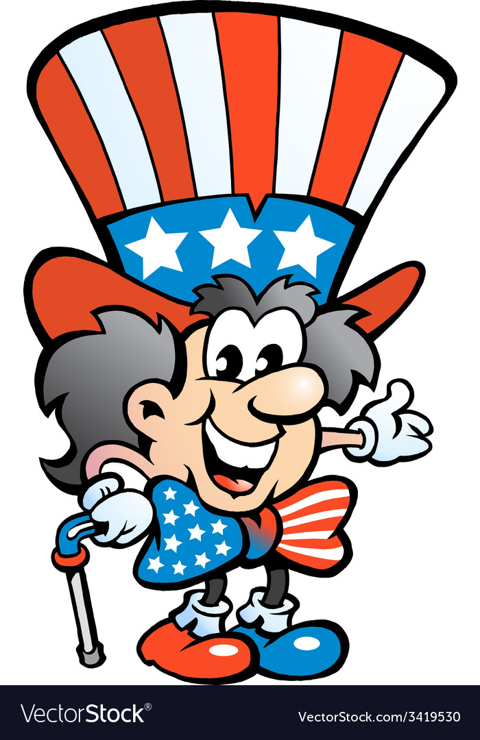 Hand-drawn of an old happy uncle sam vector | Price: 1 Credit (USD $1)