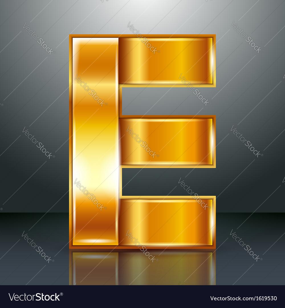 Letter metal gold ribbon - e vector | Price: 1 Credit (USD $1)