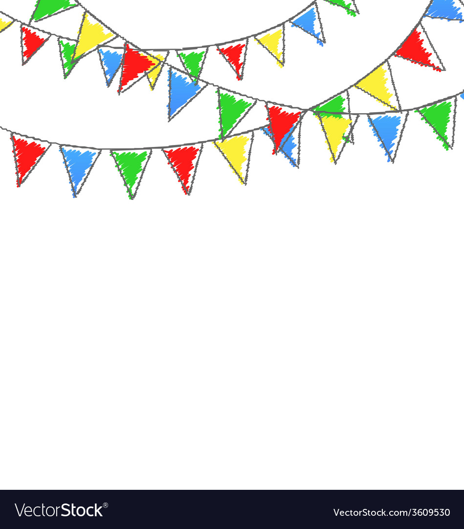 Multicolored bright hand-drawn buntings garlands vector | Price: 1 Credit (USD $1)