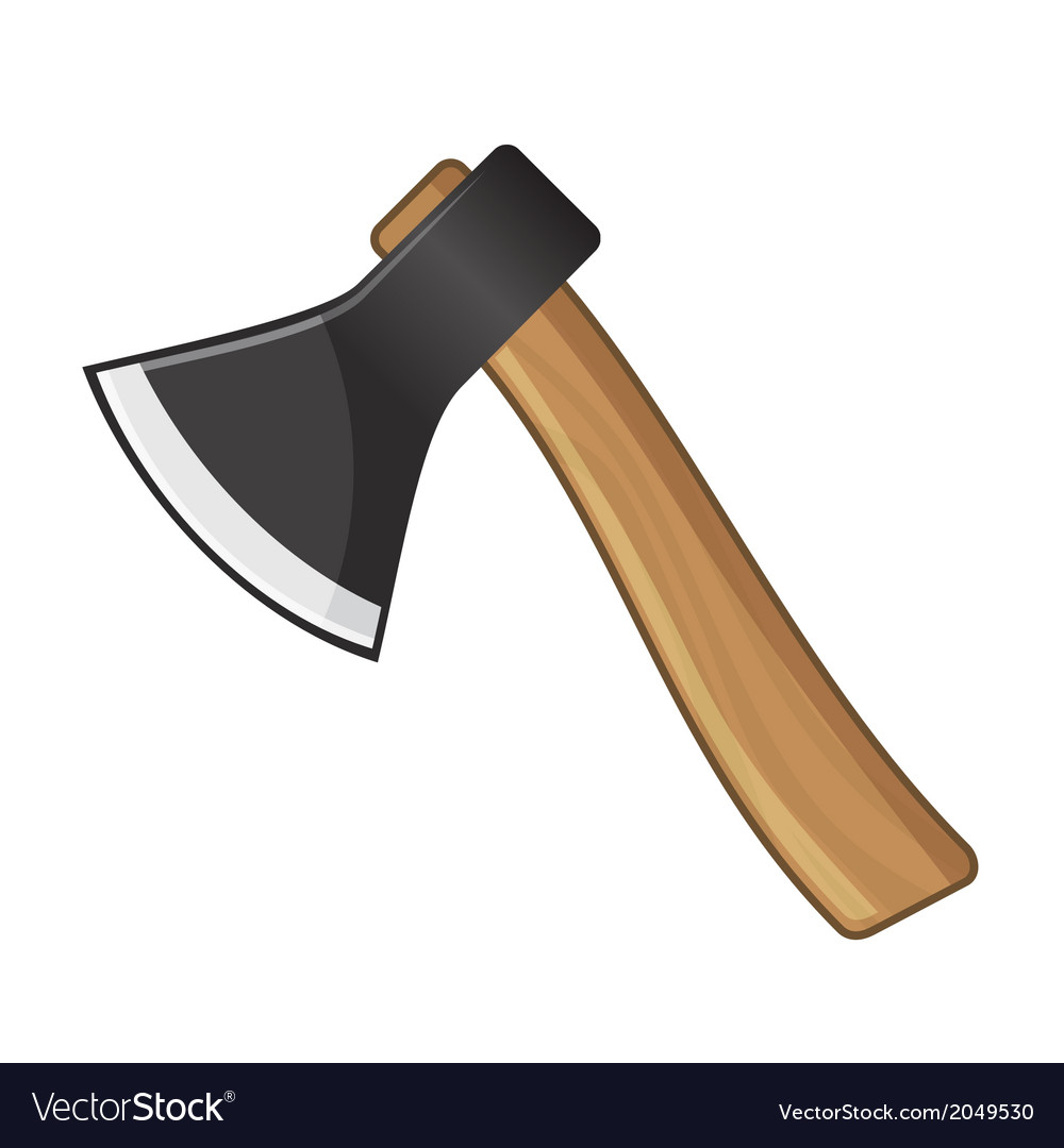 Old steel axe on white background vector | Price: 1 Credit (USD $1)