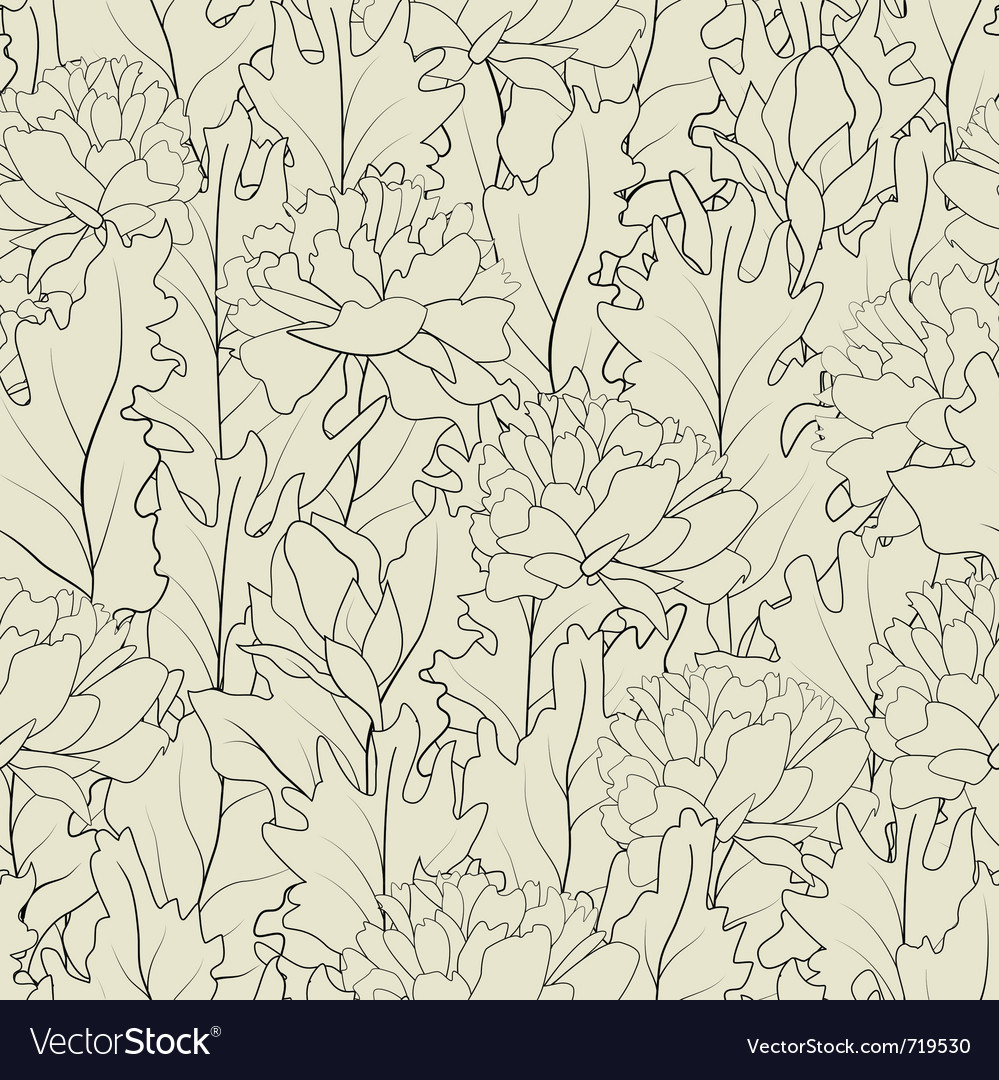 Seamless of a outline peonies and leafs vector | Price: 1 Credit (USD $1)