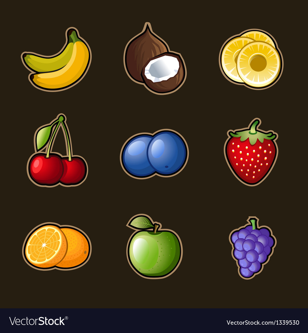 Set fruit icons vector | Price: 3 Credit (USD $3)