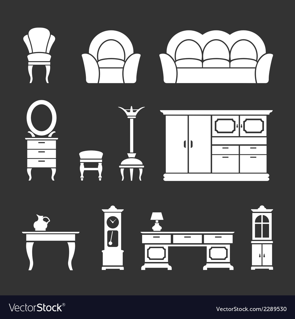 Set icons of retro furniture and home accessories vector | Price: 1 Credit (USD $1)
