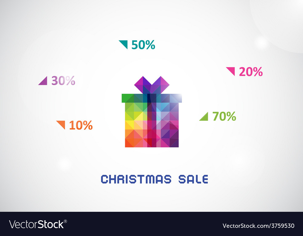Stylized colorful box from triangles for christmas vector | Price: 1 Credit (USD $1)