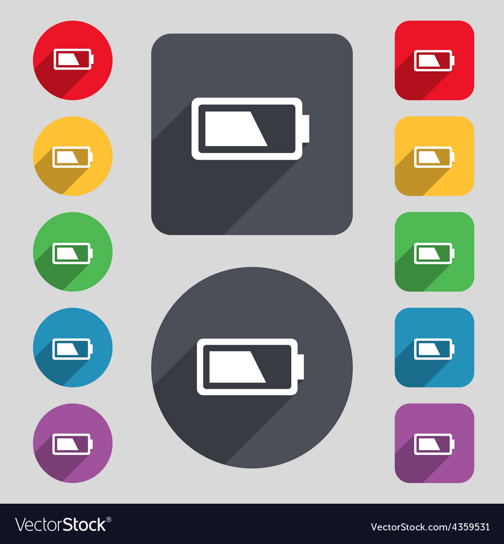 Battery half level icon sign a set of 12 colored vector | Price: 1 Credit (USD $1)