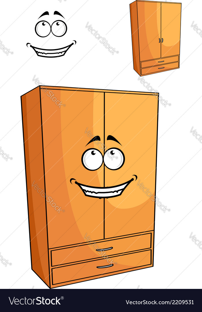 Cartoon wooden bedroom cupboard or wardrob vector | Price: 1 Credit (USD $1)