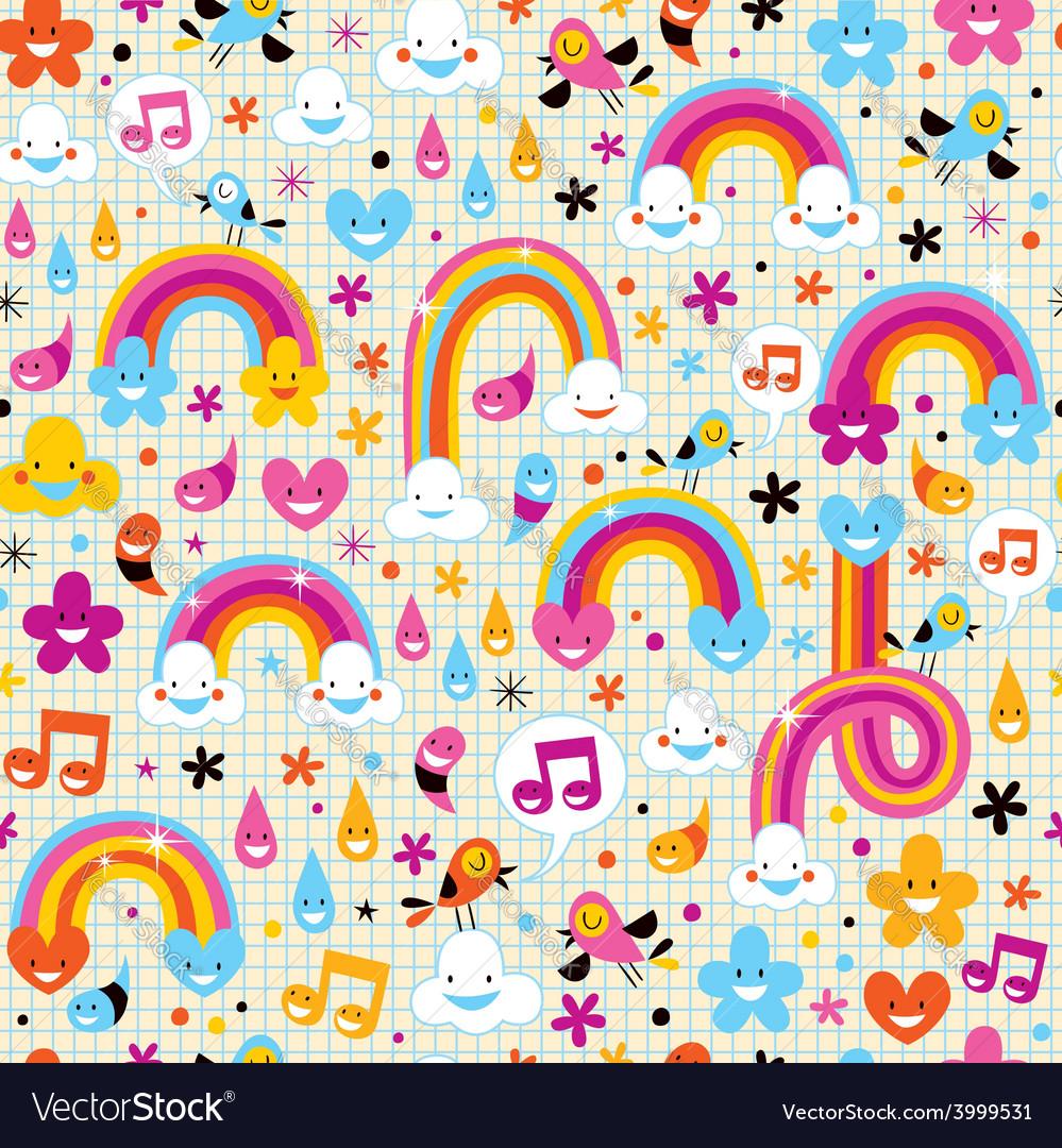Clouds rainbows rain drops hearts pattern vector | Price: 1 Credit (USD $1)