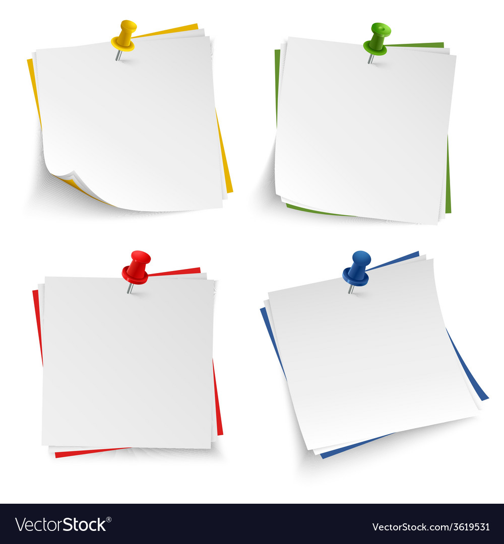 Note paper with push colored pin template vector | Price: 1 Credit (USD $1)