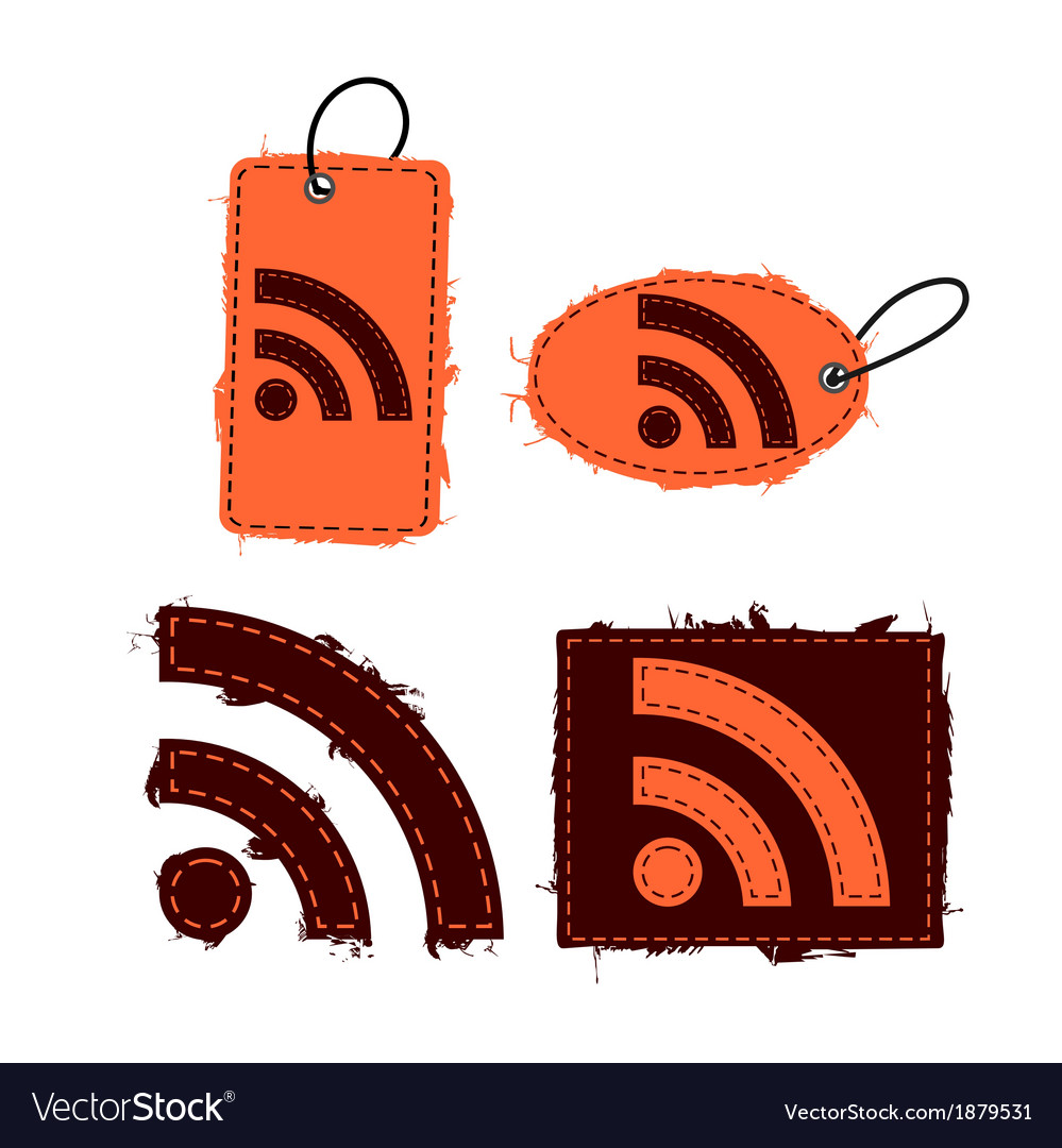 Rss feed icon set vector | Price: 1 Credit (USD $1)