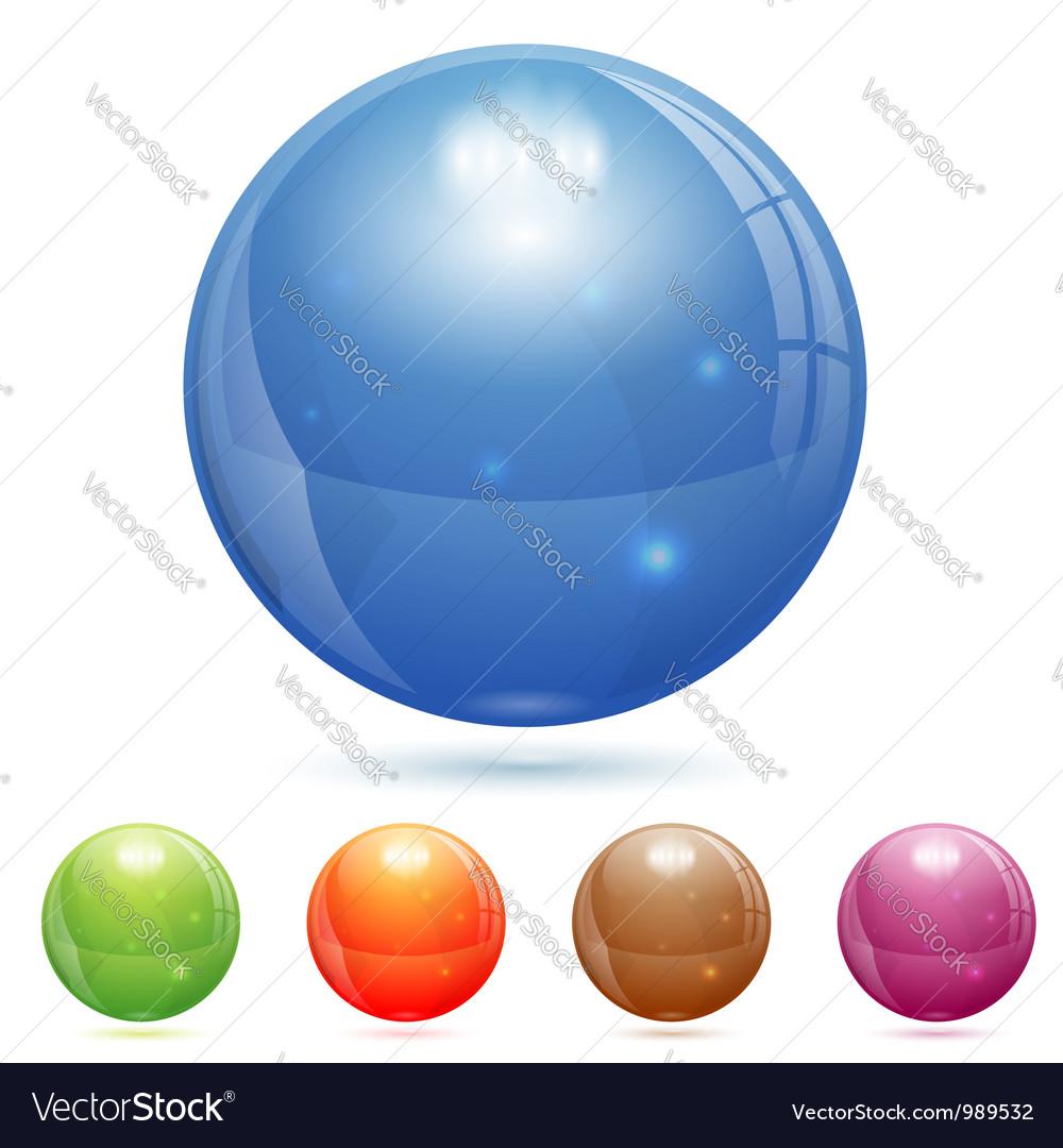 3d glass ball vector