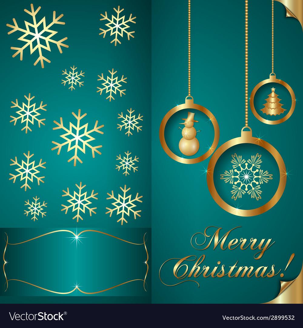 Abstart cyan blue christmas invitation card vector | Price: 1 Credit (USD $1)