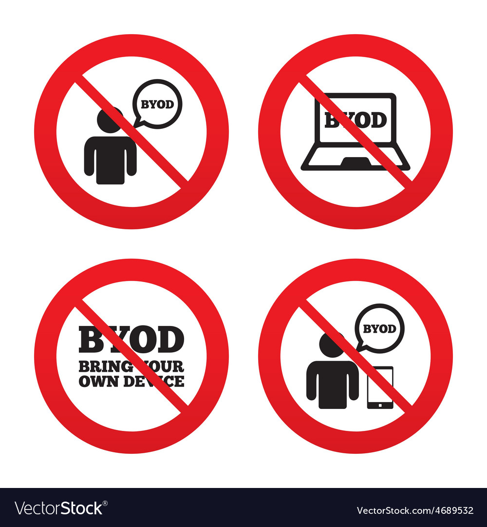 Byod signs human with notebook and smartphone vector | Price: 1 Credit (USD $1)
