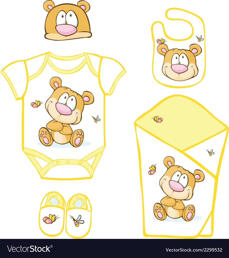 Cute baby layette with bear and butterfly - vector | Price: 1 Credit (USD $1)