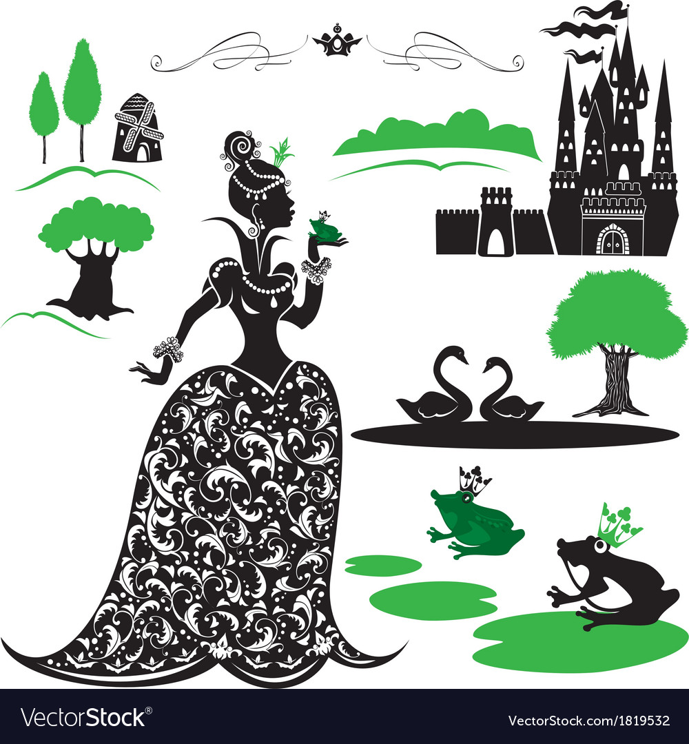 Fairytale set - silhouettes of princess and frog vector | Price: 1 Credit (USD $1)