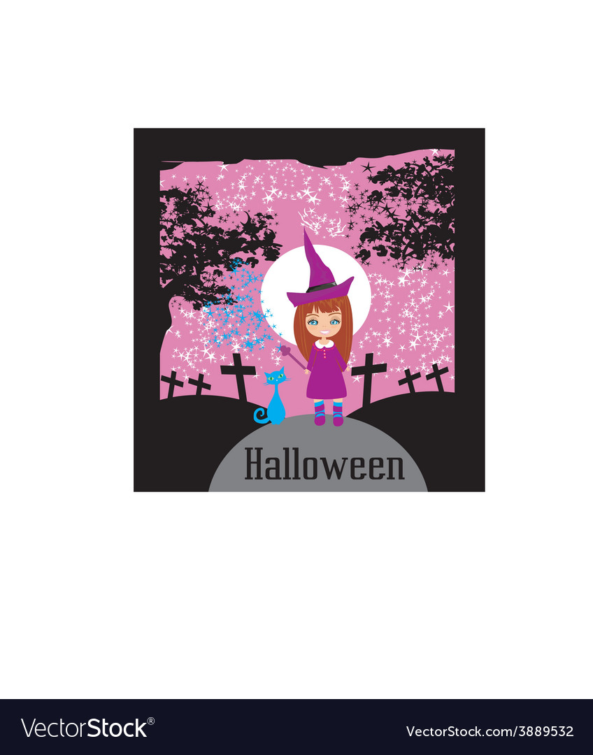 Girl witch charm cat vector | Price: 1 Credit (USD $1)