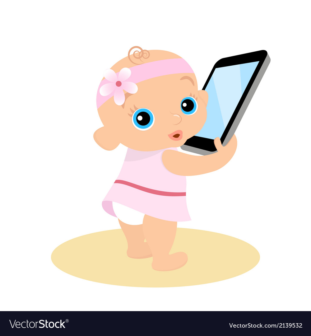 Little girl is playing with smartphone - isolated vector | Price: 1 Credit (USD $1)