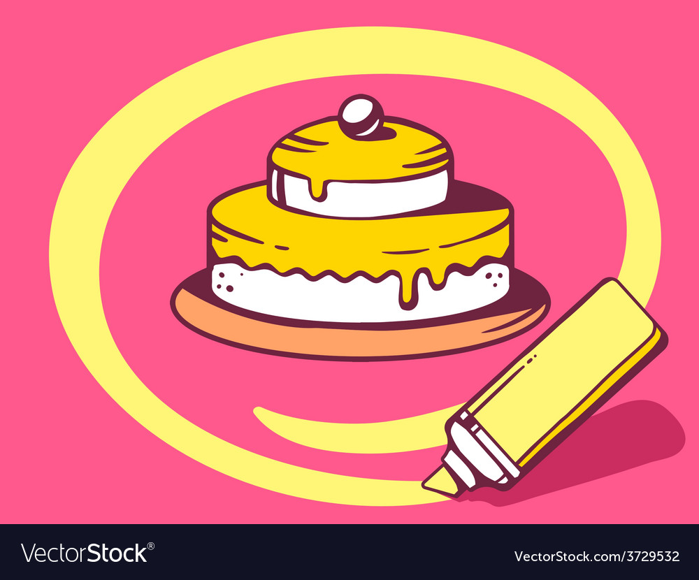 Marker drawing circle around cake on pink vector | Price: 1 Credit (USD $1)