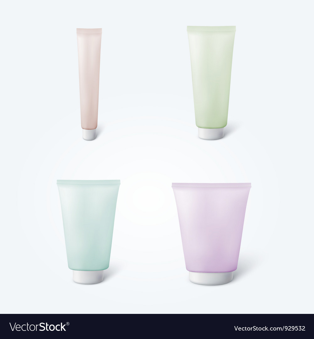 Set of 4 blank cosmetic tubes vector | Price: 1 Credit (USD $1)