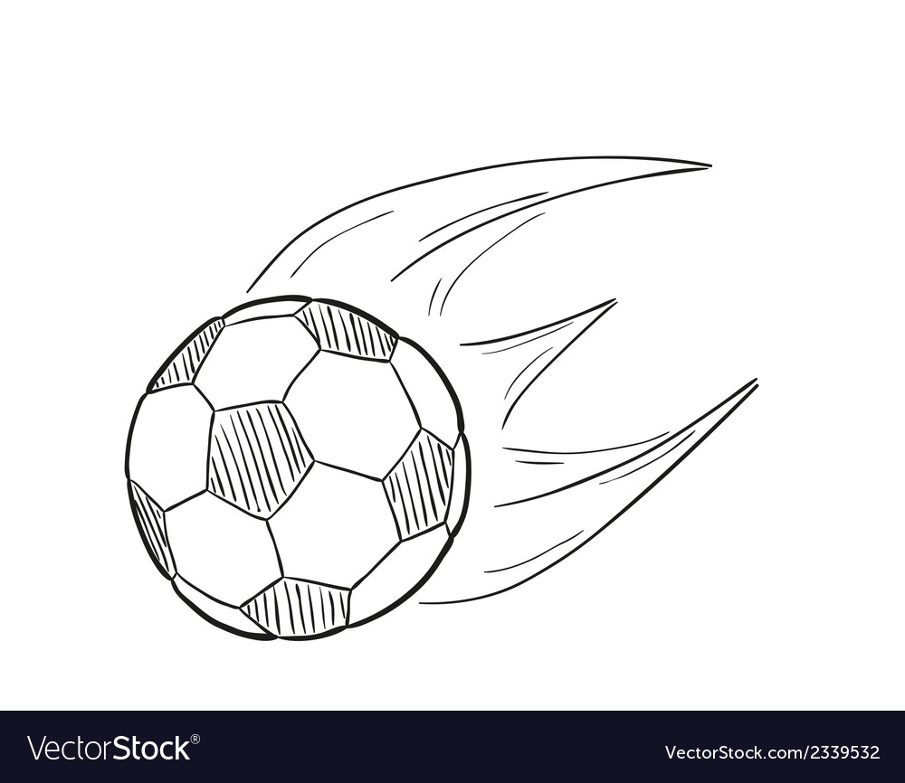 Sketch of the flying football ball with flames vector | Price: 1 Credit (USD $1)