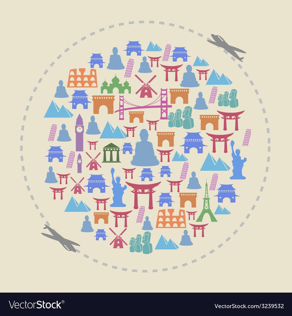 Travel around the famous landmarks vector | Price: 1 Credit (USD $1)