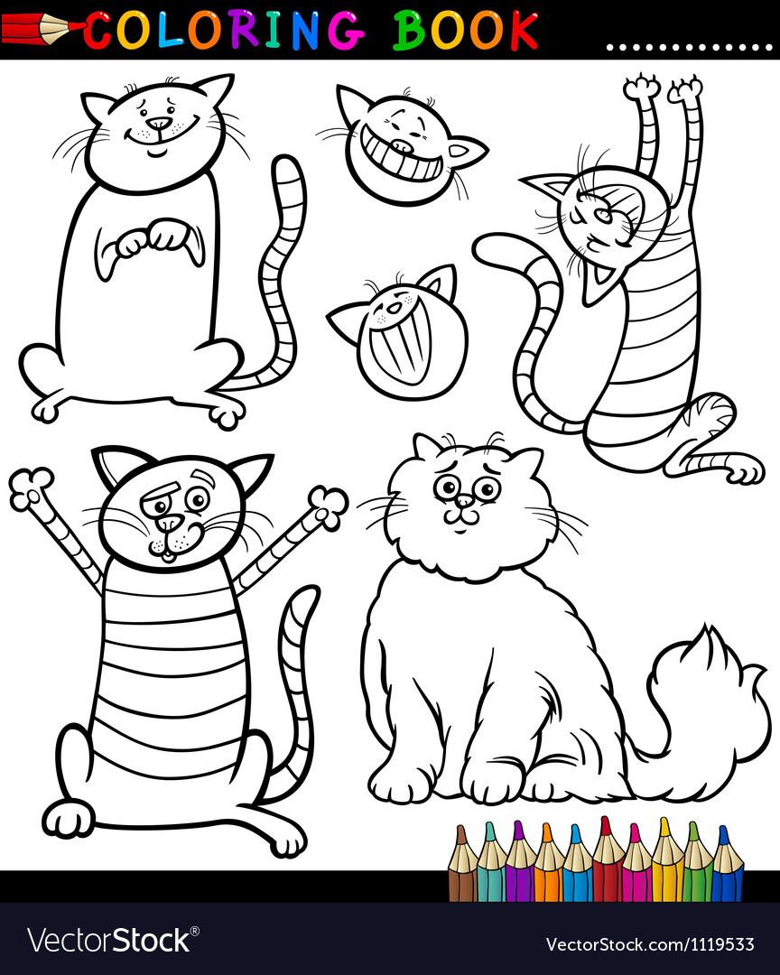 Cartoon cats or kittens coloring page vector | Price: 1 Credit (USD $1)