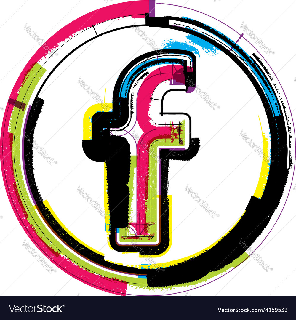 Colorful grunge font letter f vector   Price: 1 Credit (USD $1)