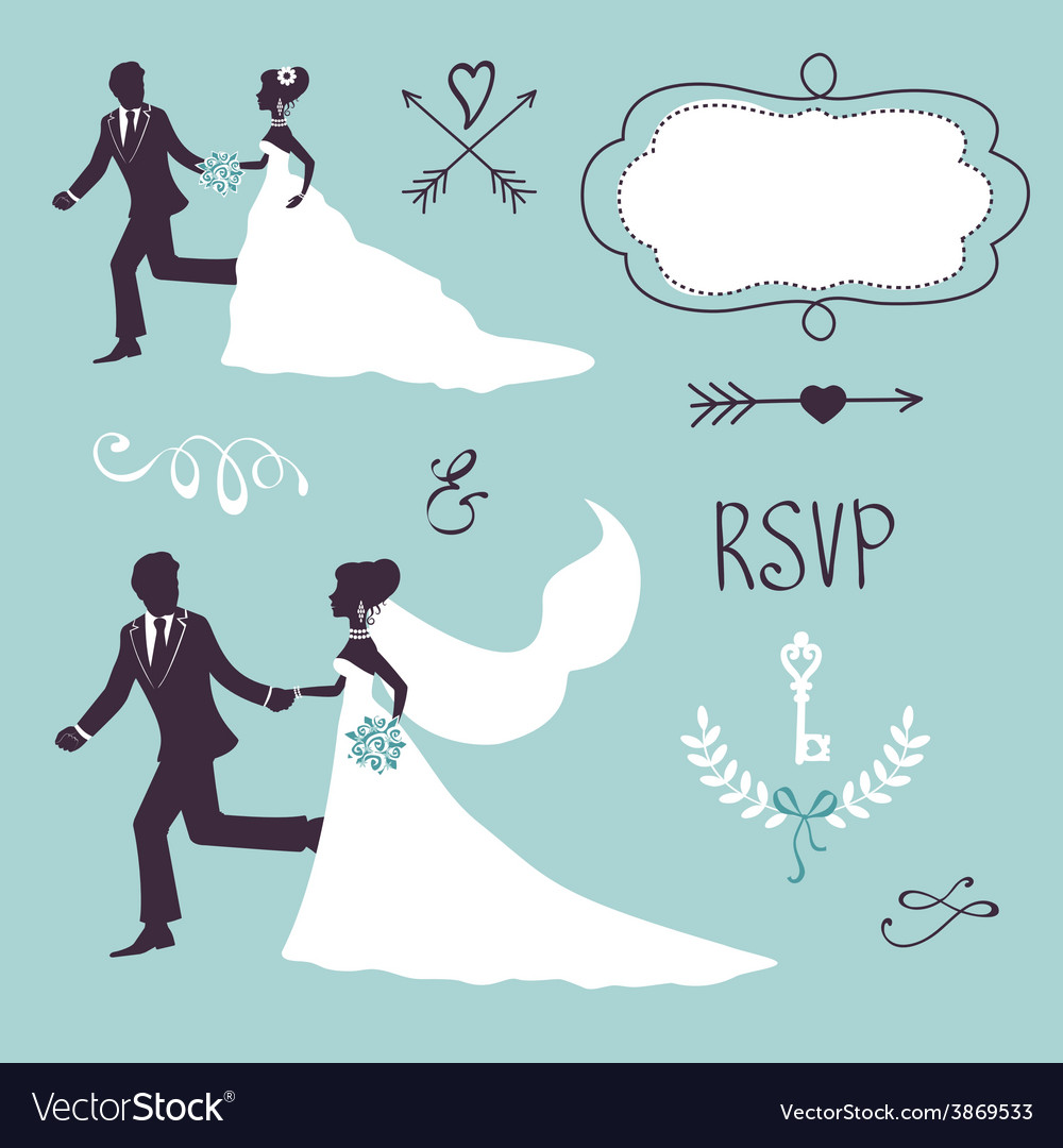 Elegant wedding couples in silhouette vector | Price: 1 Credit (USD $1)