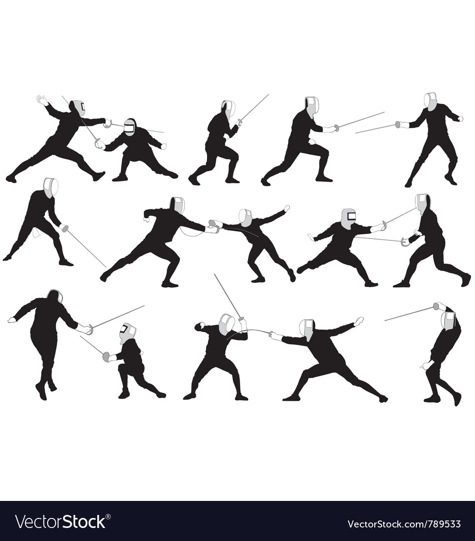 Fencing silhouettes vector   Price: 1 Credit (USD $1)