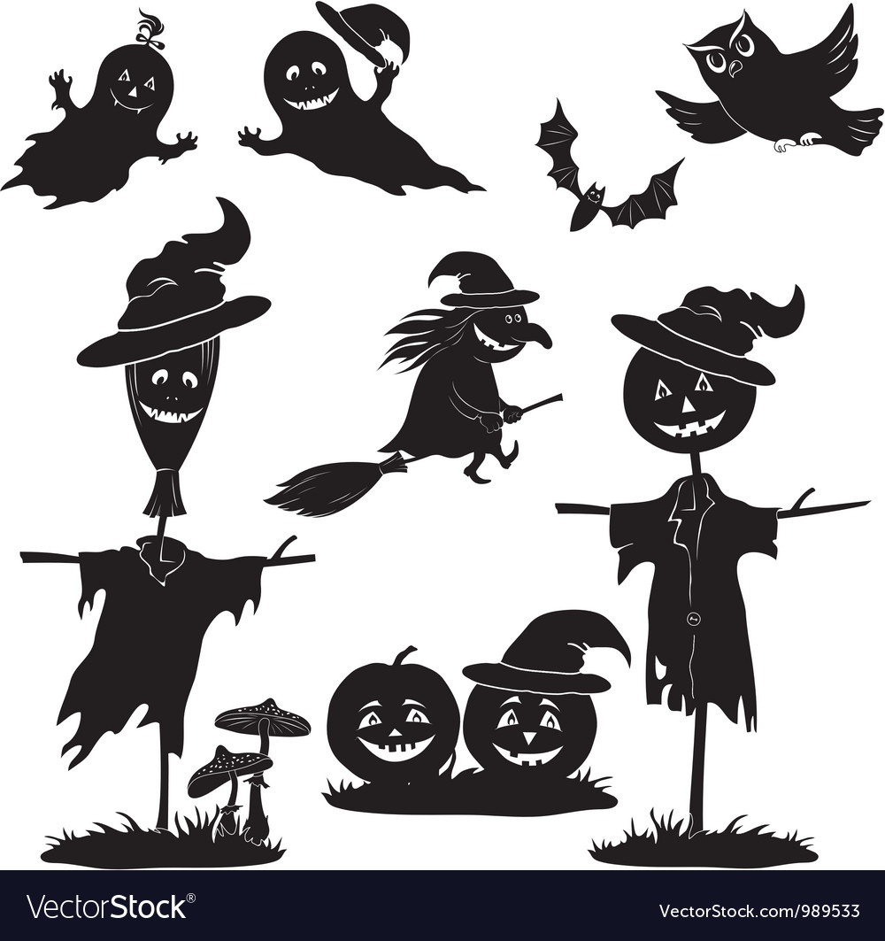 Halloween cartoon set black silhouette vector | Price: 1 Credit (USD $1)