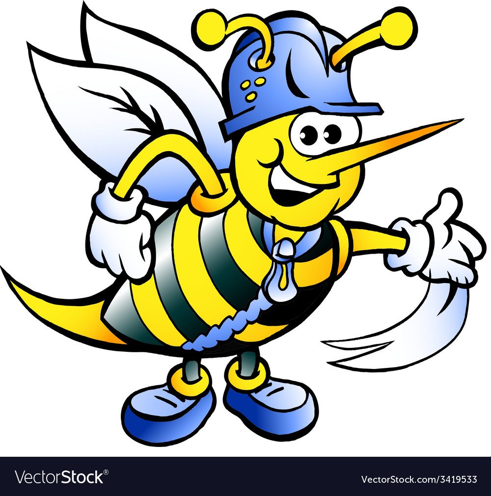 Hand-drawn of an happy working bee vector | Price: 1 Credit (USD $1)
