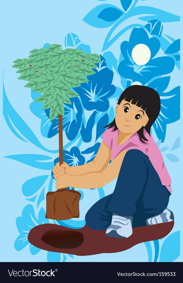 Kid plant tree vector | Price: 1 Credit (USD $1)