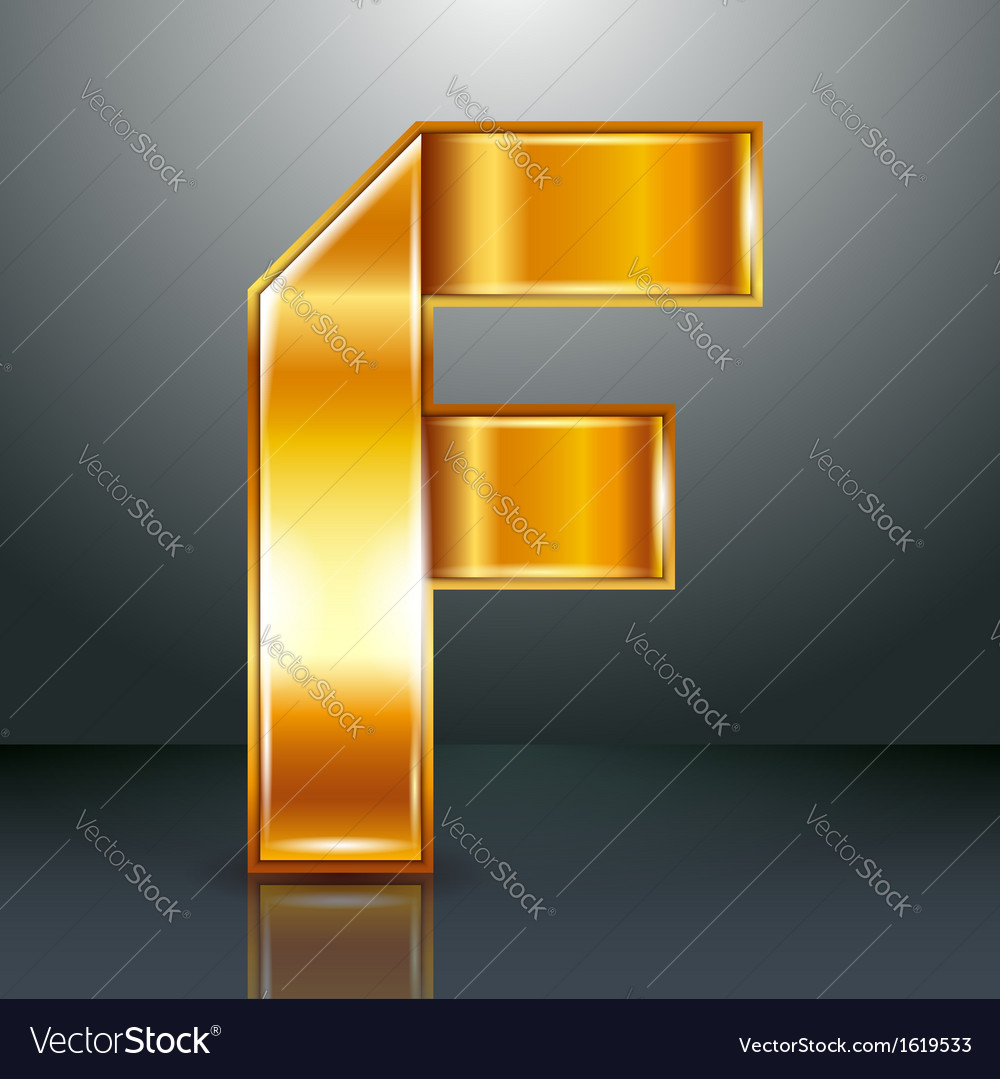Letter metal gold ribbon - f vector | Price: 1 Credit (USD $1)