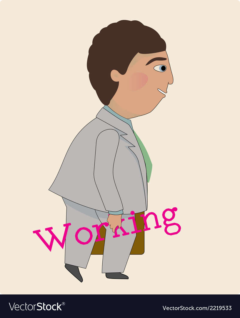 Man happy to be working vector | Price: 1 Credit (USD $1)
