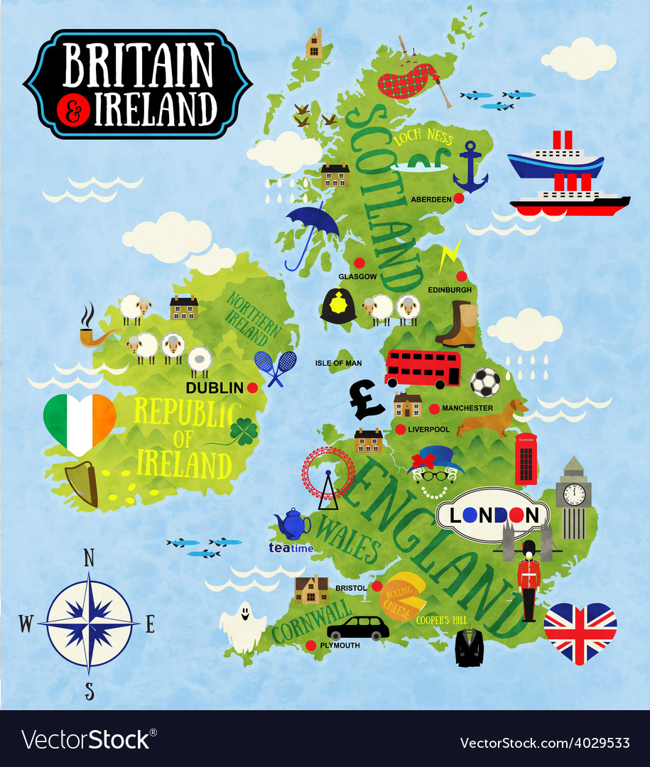 Maps of britain and ireland vector | Price: 1 Credit (USD $1)