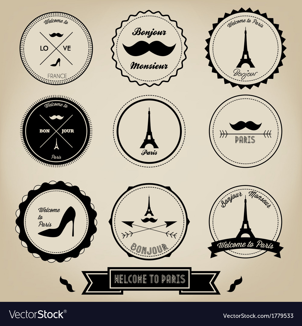 Paris france vintage label vector | Price: 1 Credit (USD $1)