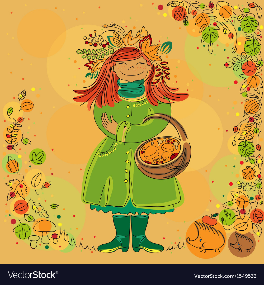 Redhead smiling girl in autumn scene vector | Price: 1 Credit (USD $1)