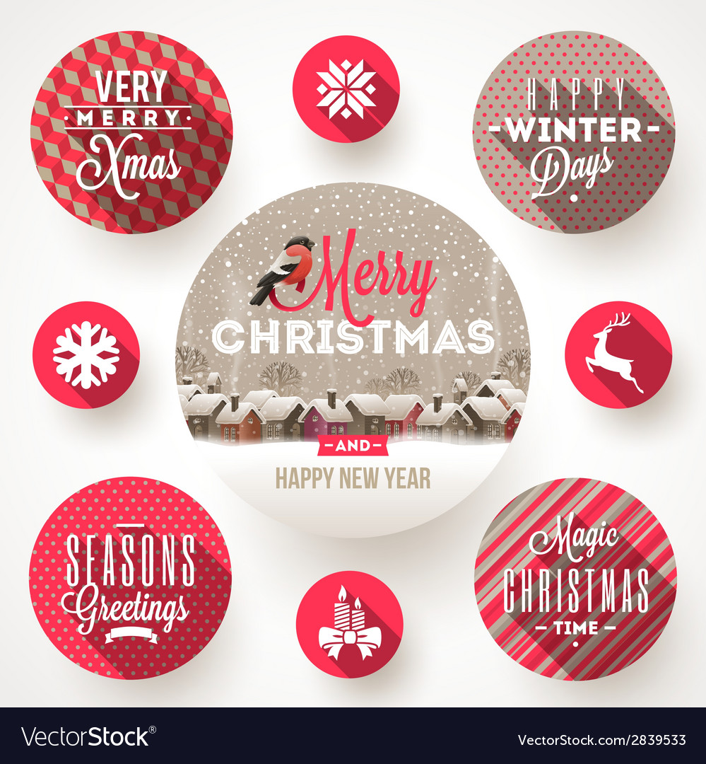 Set of round frames with christmas greetings vector | Price: 1 Credit (USD $1)