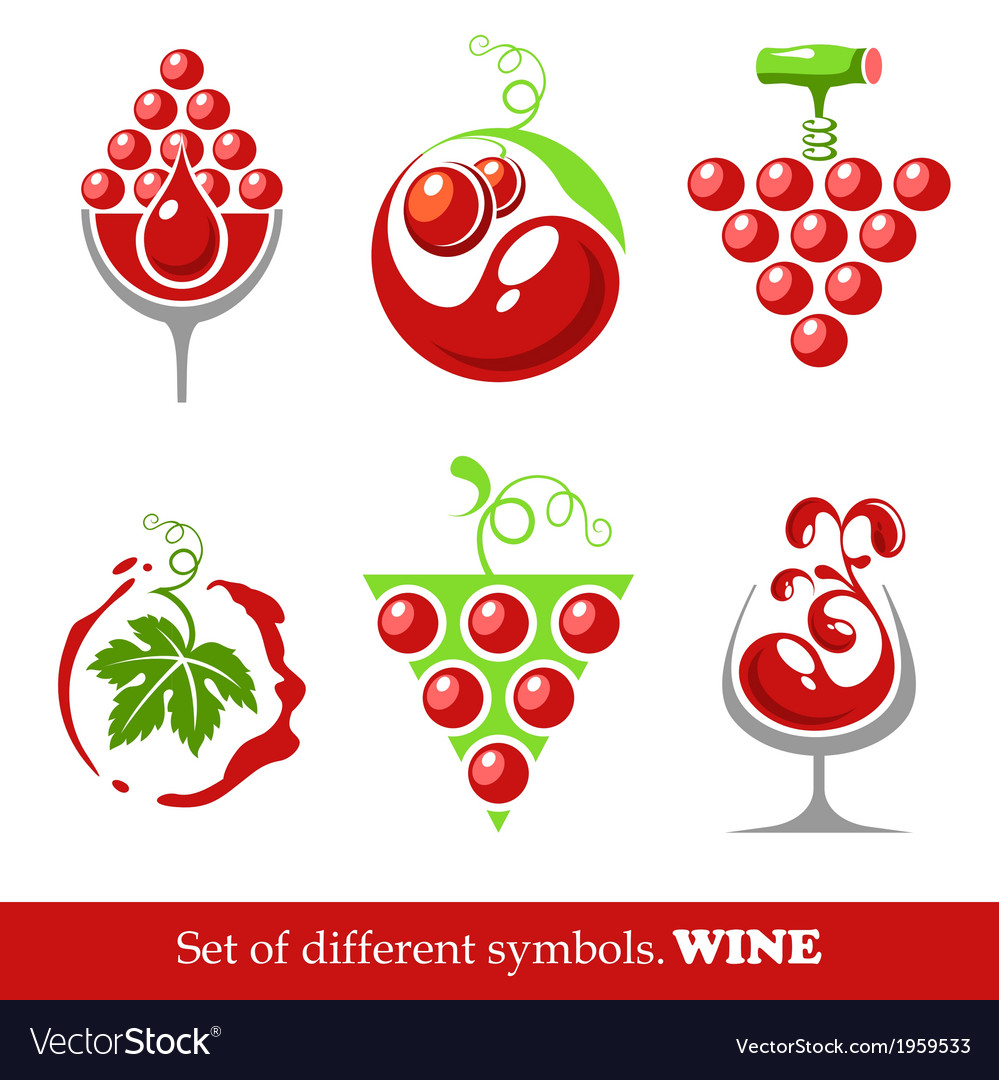 Signs and symbols of wine and grapes vector | Price: 1 Credit (USD $1)