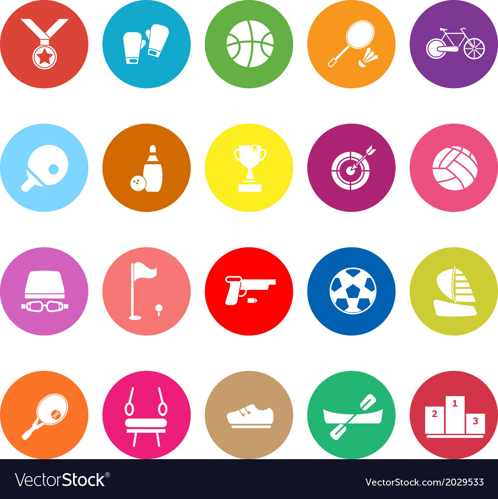 Sport game athletic flat icons on white background vector | Price: 1 Credit (USD $1)