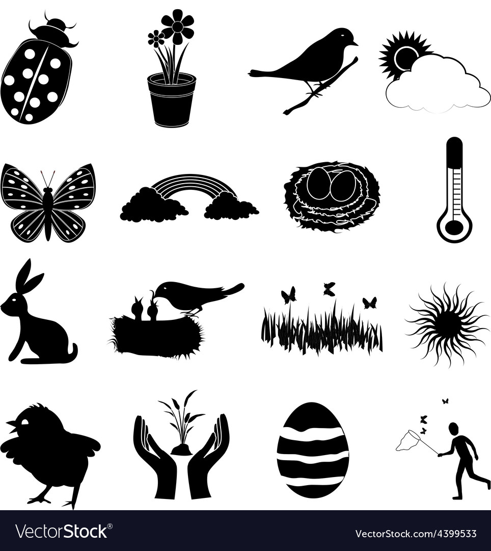 Spring season icons set vector | Price: 1 Credit (USD $1)