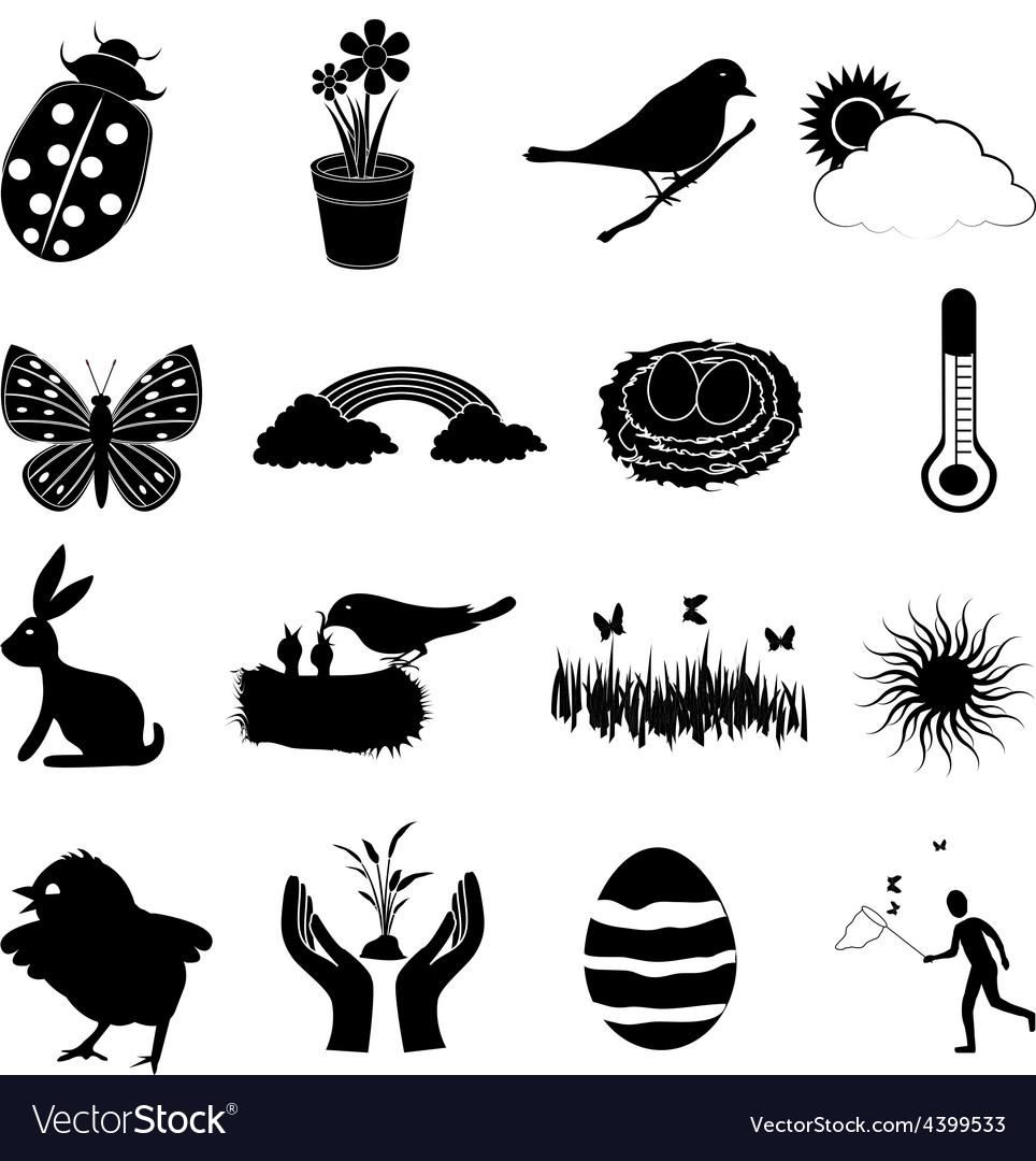 Spring season icons set vector | Price: 3 Credit (USD $3)