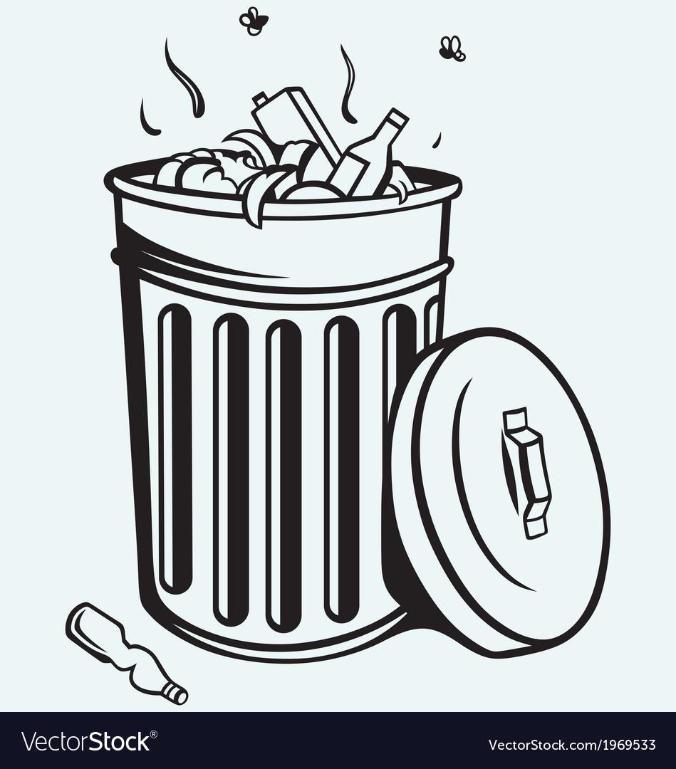 Trash bin full of garbage vector | Price: 1 Credit (USD $1)